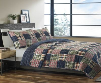 Madrona Navy Plaid Full/Queen Quilt Set
