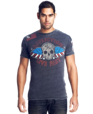 Affliction T Shirt, Skull and Flag T Shirt