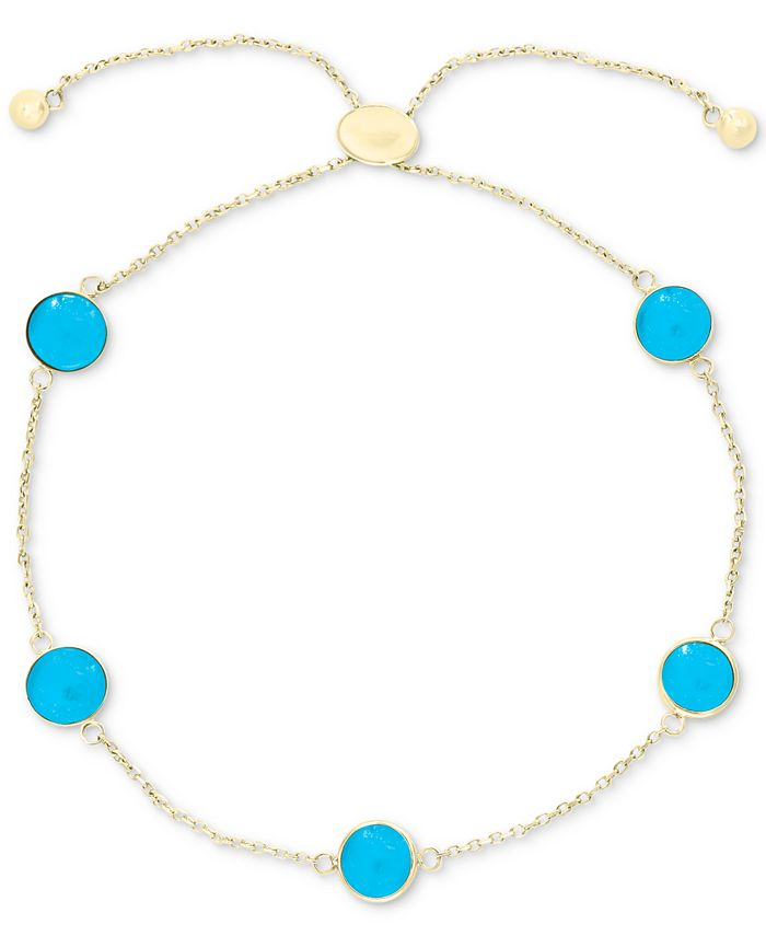 EFFY Collection - Turquoise (6mm) Bolo Bracelet in 14k Gold