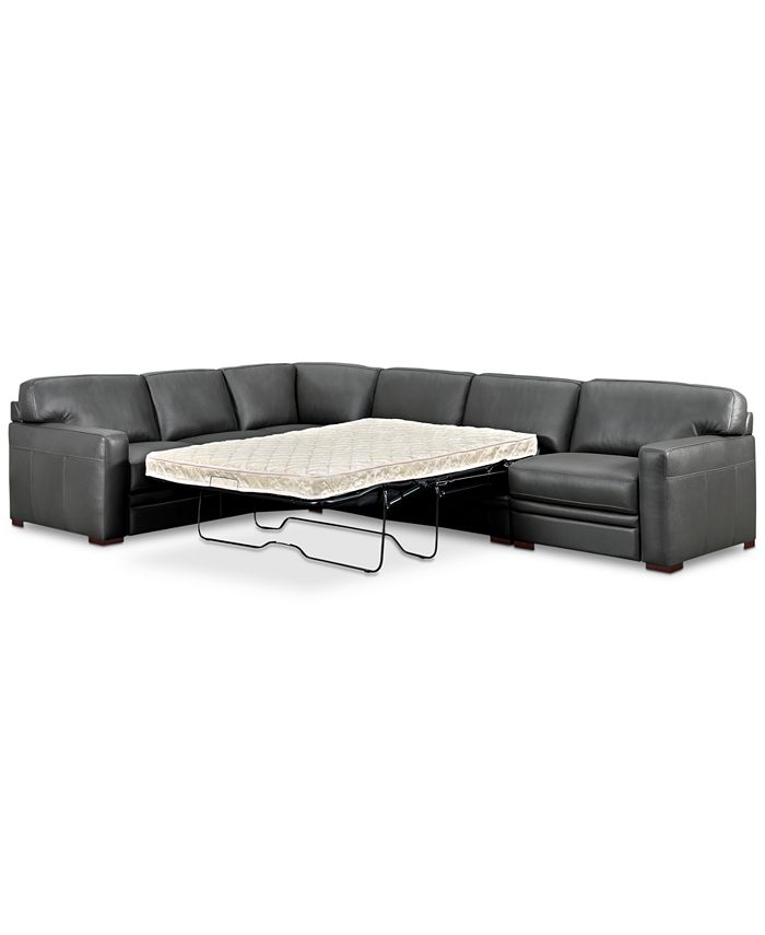 Furniture - Avenell 3-Pc. Leather Sleeper Sectional with Chair