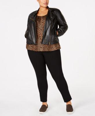 Plus Size Leopard Print Peasant Top