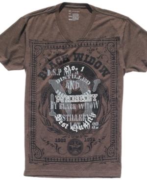 INC International Concepts Shirt, Black Widow V Neck Graphic T Shirt