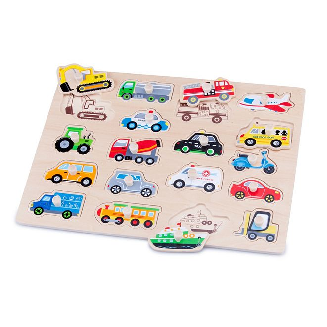 Eitech New Classic Toys Wooden Vehicles Peg Puzzle