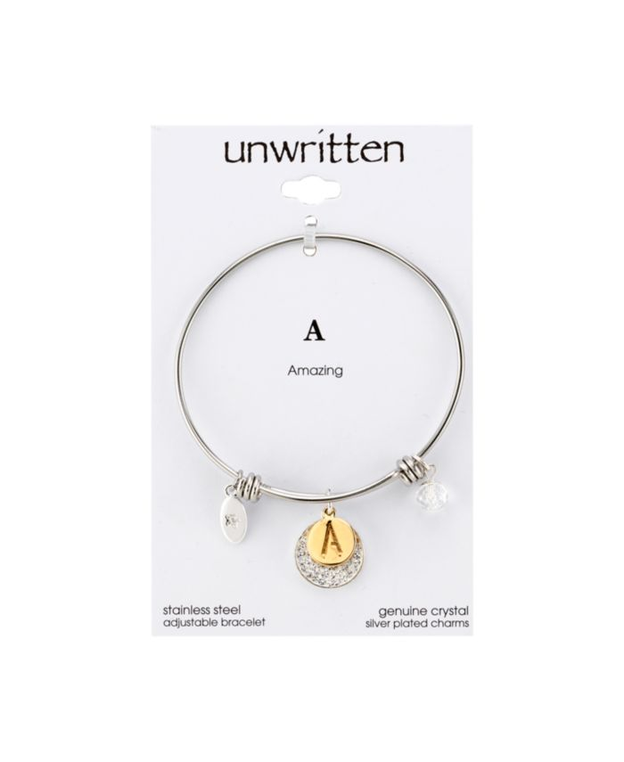 Unwritten Pave and Initial Disc Bangle Bracelet in Stainless Steel and Silver Plated & Reviews - Bracelets - Jewelry & Watches - Macy's