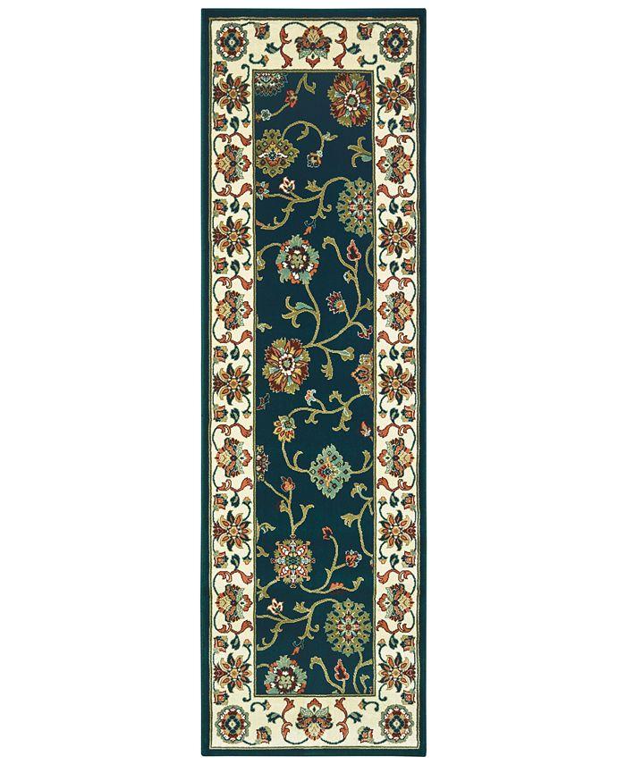 """Oriental Weavers - Kashan 2336B Navy/Ivory 2'3"""" x 7'6"""" Runner Area Rug"""