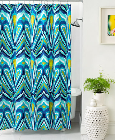 trina turk bath blue peacock shower curtain