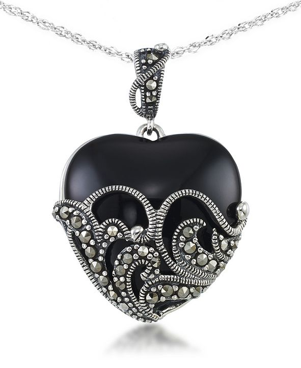 "Macy's Onyx (24 X 24mm) & Marcasite Heart Pendant on 18"" Chain in Sterling Silver"