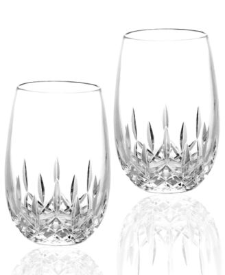 Waterford stemware lismore nouveau stemless deep red wine glasses set of 2 glassware - Waterford colored wine glasses ...