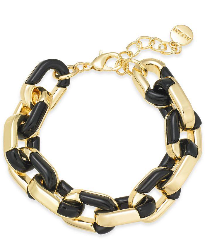 Alfani - Gold-Tone & Black Acrylic Large Link Bracelet