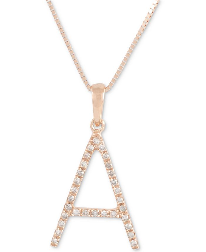 "Macy's - Diamond (1/10 ct. t.w.) Initial Pendant Necklace in 10k Rose Gold, 16"" + 2"" extender"