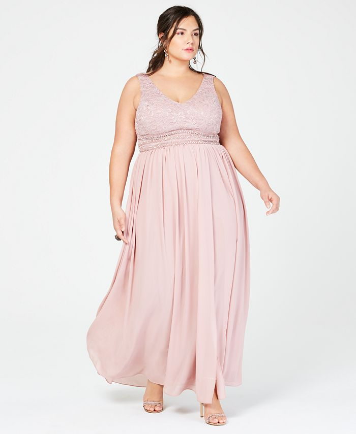 City Studios - Trendy Plus Size Glitter Lace & Chiffon Gown