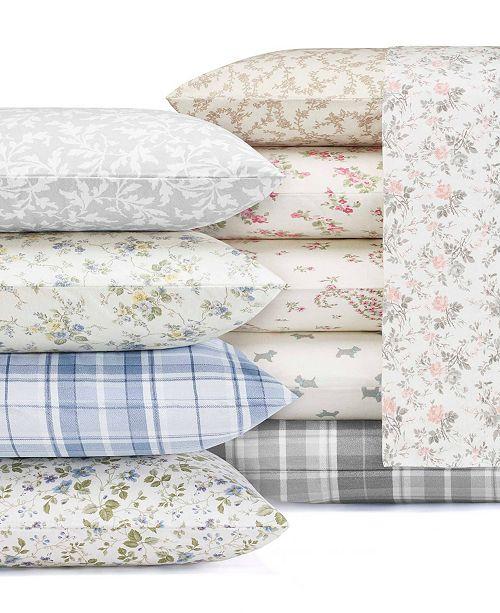 Laura Ashley Audrey Medium Pink Full Flannel Sheet Set Reviews Sheets Pillowcases Bed Bath Macy S
