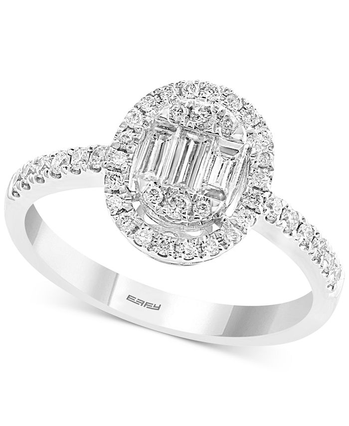 EFFY Collection - Diamond Baguette Halo Diamond Ring (1/2 ct. t.w.) in 14k White Gold