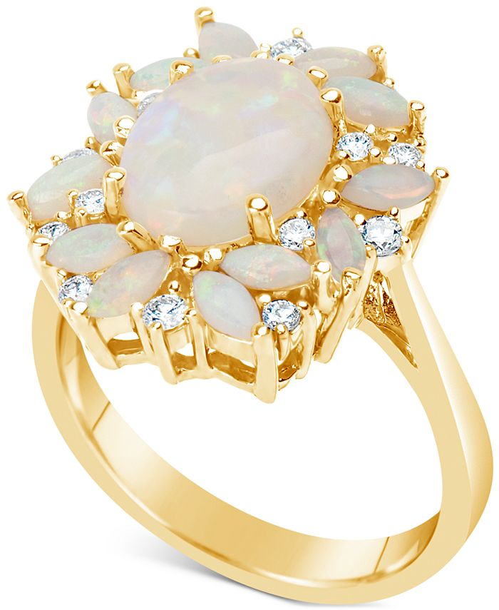 Macy's - Opal (2-1/5 ct. t.w.) & Diamond (1/4 ct. t.w.) Ring in 14k Gold