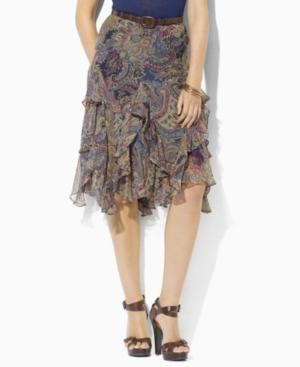 Lauren by Ralph Lauren Skirt, Ingrid Crinkled Silk Georgette