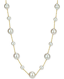 """Cultured Freshwater Pearl (7-14mm) 18"""" Necklace in 14k Gold"""