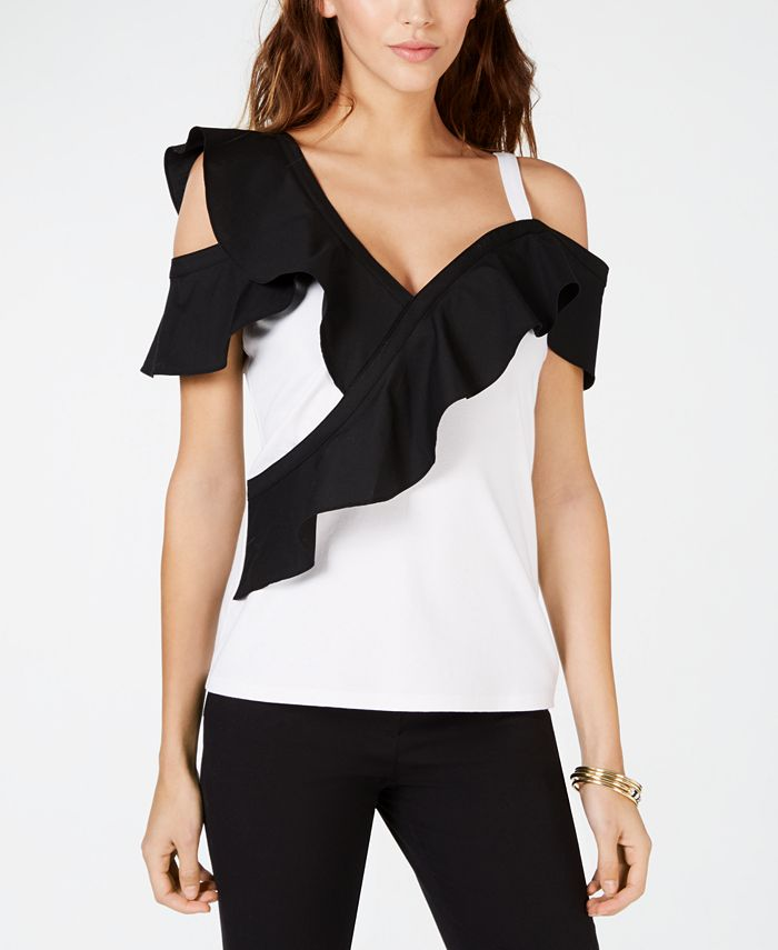 INC International Concepts - Colorblocked-Ruffle Cold-Shoulder Top