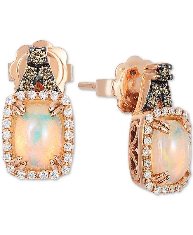 Le Vian Neopolitan Opal (3/4 ct. t.w.), Vanilla & Chocolate Diamond (1/4 ct. t.w.) Stud Earrings in 14k Rose Gold