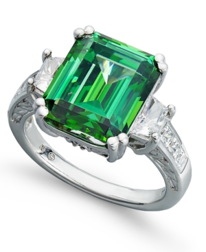 Arabella Sterling Silver Ring, Green Swarovski Zirconia Ring (12-9/10 ct. t.w.)