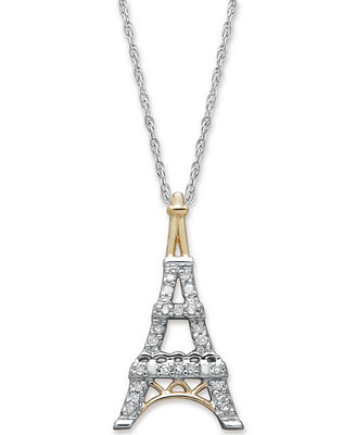 Diamond Eiffel Tower Pendant Necklace in 14k Gold and