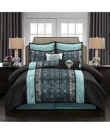 Arabesque 8-Piece Comforter Set, Black/Blue, California King