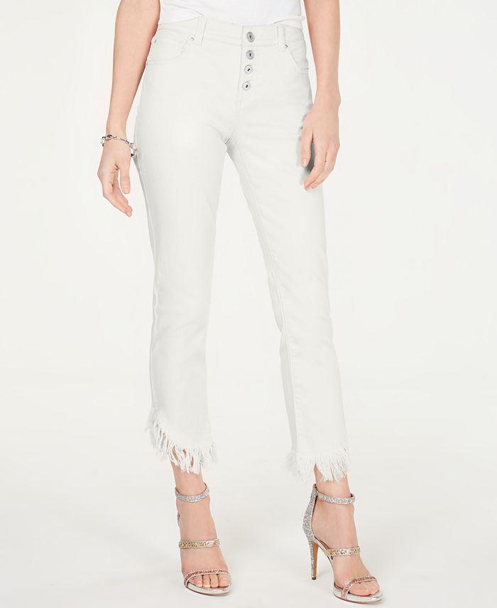 INC International Concepts - Fringe-Hem Button-Front Straight-Leg Jeans