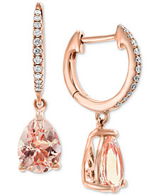 EFFY® Morganite (1-9/10 ct. t.w.) & Diamond (1/10 ct. t.w.) Drop Earrings in 14k Rose Gold
