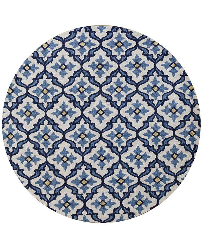 "Kas - Harbor Mosaic 7'6"" Indoor/Outdoor Round Area Rug"