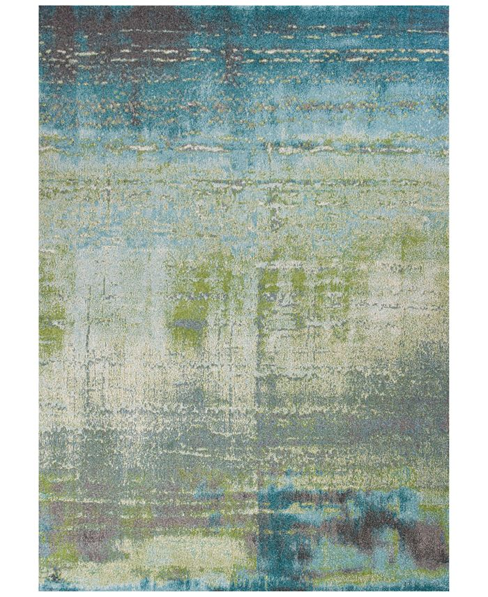 "Kas - Illusions Escape 6206 Blue/Green 6'7"" x 9'6"" Area Rug"