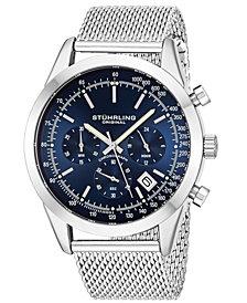 Stuhrling Original Men's Quartz Chronograph Date Watch, Silver Tone Alloy Case, Blue Dial, Stainless Steel Mesh Bracelet