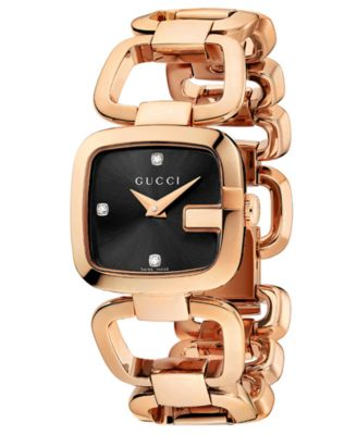 gucci watches for women. gucci watch, women\u0027s swiss g-gucci diamond accent pink gold pvd stainless steel bracelet watches for women