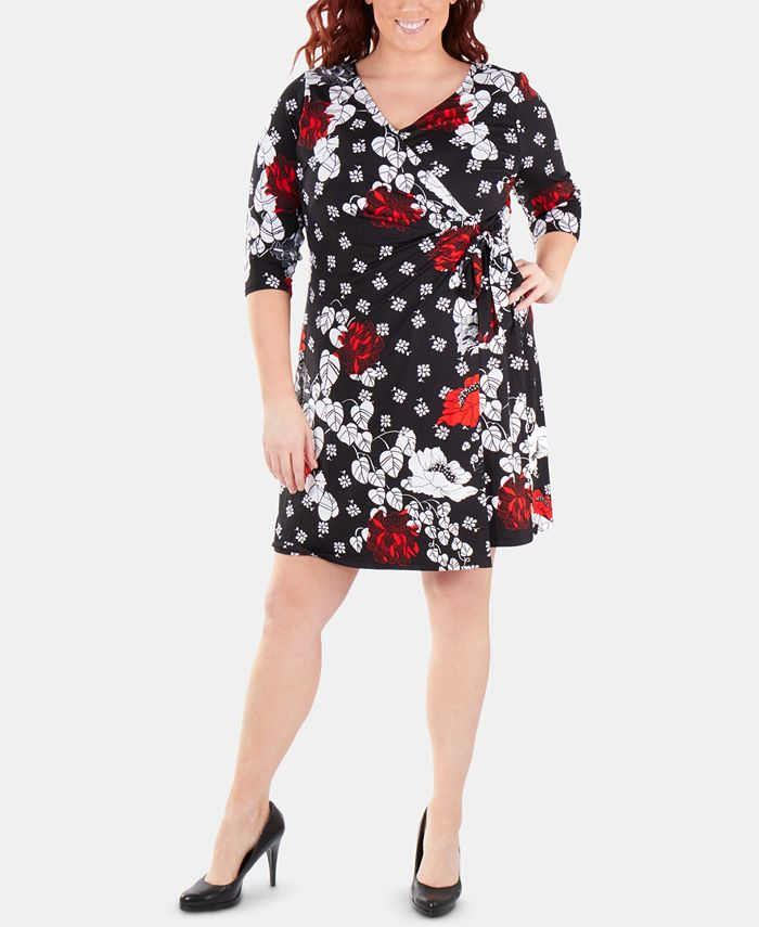 NY Collection - Plus Size Printed Tie-Front Wrap Dress