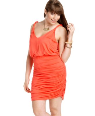 Soprano Plus Size Dress Sleeveless Ruched