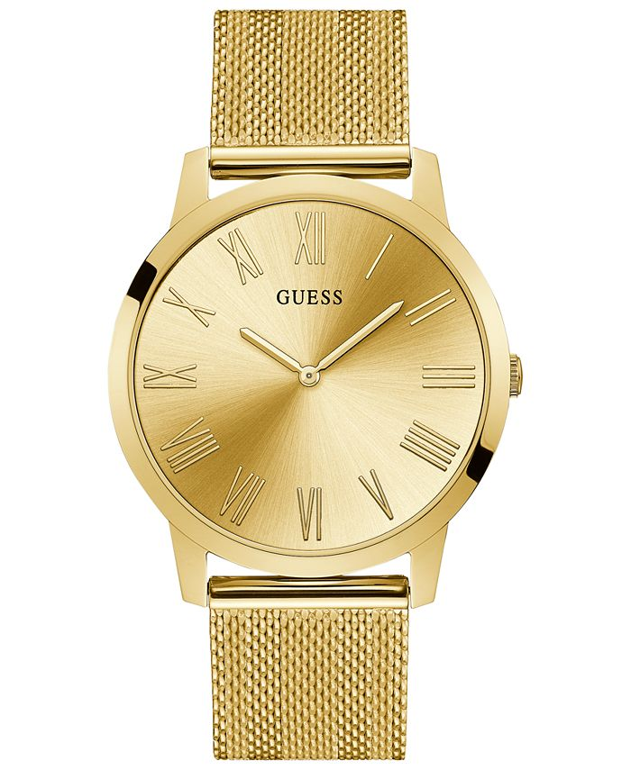 GUESS - Men's Richmond Gold-Tone Stainless Steel Mesh Bracelet Watch 44mm