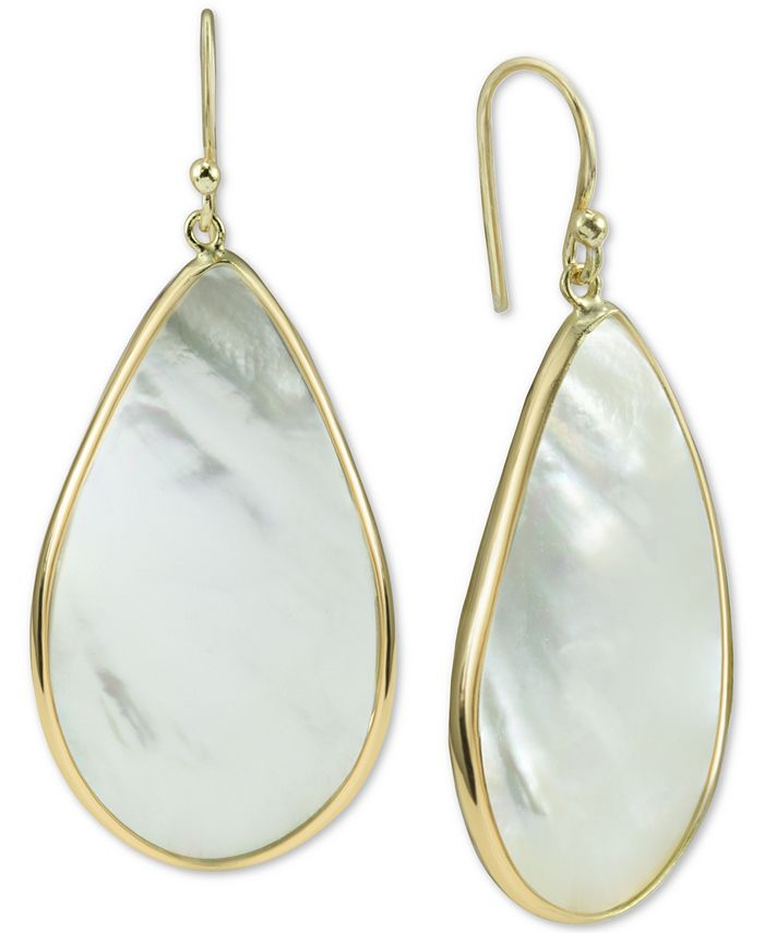 Argento Vivo - Mother-of-Pearl Teardrop Drop Earrings in Gold-Plated Sterling Silver