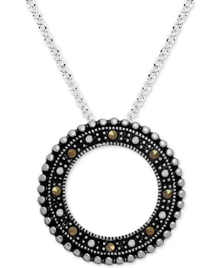 """Macy's - Marcasite Beaded Circle 18"""" Pendant Necklace in Fine Silver-Plate"""