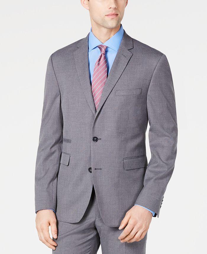 Vince Camuto - Men's Slim-Fit Stretch Wrinkle-Resistant Gray Textured Solid Suit Jacket