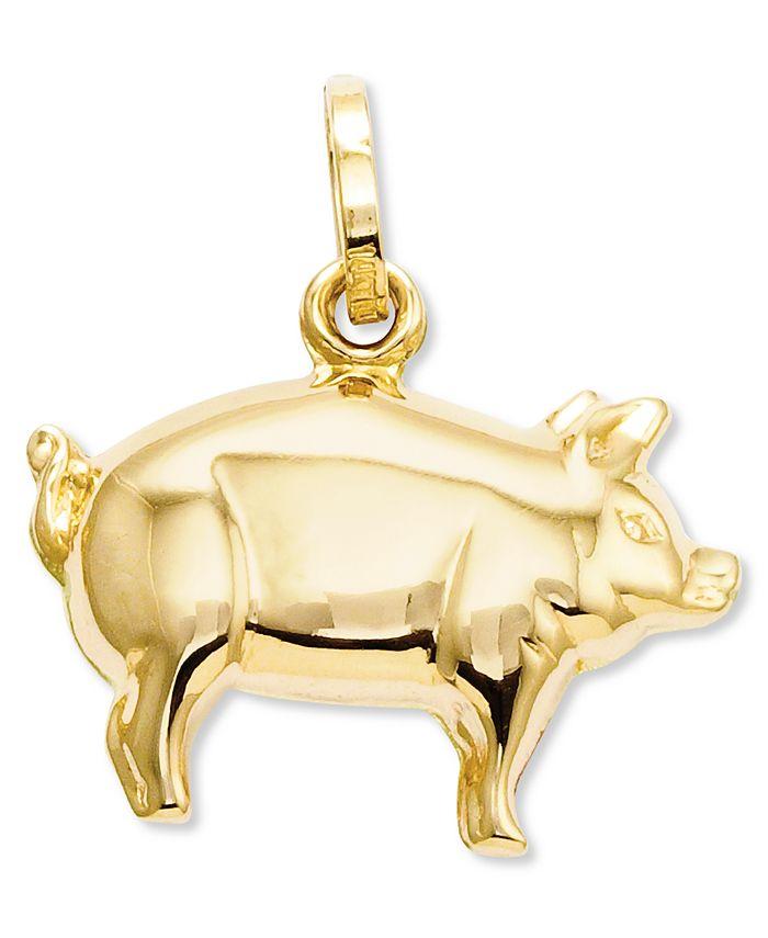 Macy's - 14k Gold Charm, Pig Charm