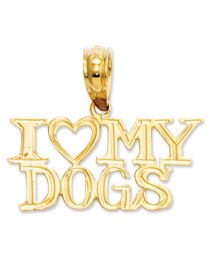Macy's - 14k Gold Charm, I Heart My Dogs Charm