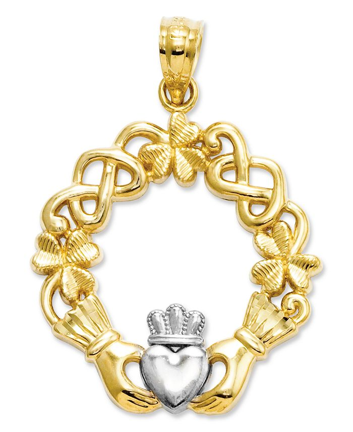 Macy's - 14k Gold and Sterling Silver Charm, Claddagh Charm