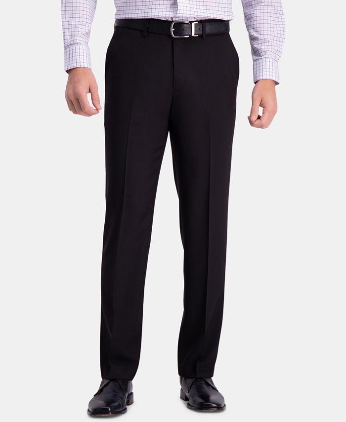 Haggar - Men's Premium Comfort Classic-Fit 4-Way Stretch Wrinkle-Free Flat-Front Dress Pants