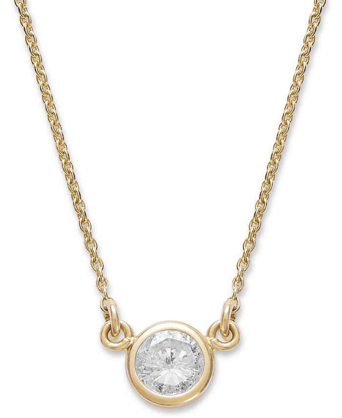Macy's - Bezel-Set Diamond Pendant Necklace in 14k Gold (1/5 ct. t.w.)