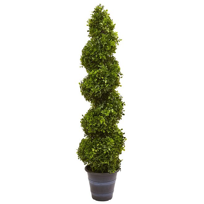Nearly Natural Boxwood Spiral Topiary w/ Planter