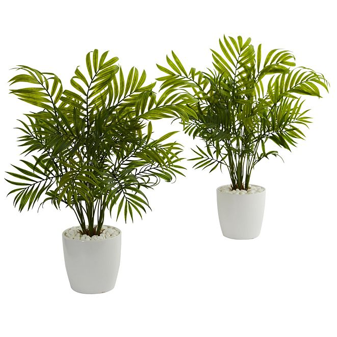 """Nearly Natural 19.5"""" Palms in White Planter Artificial Plant, Set of 2"""