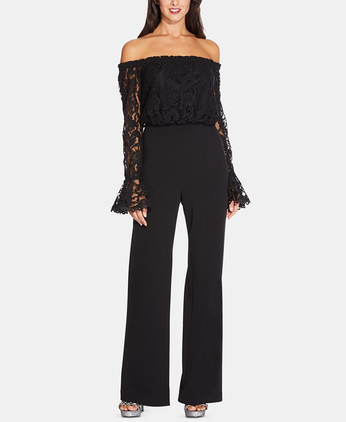 Adrianna Papell - Off-The-Shoulder Lace Jumpsuit