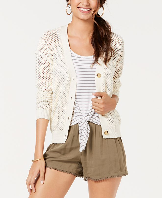 Oh!MG Juniors' Open-Knit Button-Front Cardigan