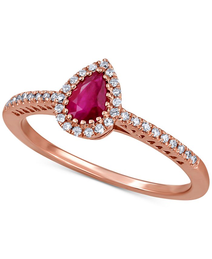 Macy's - Ruby (1/2 ct. t.w.) & Diamond (1/8 ct. t.w.) Ring in 14k Rose Gold