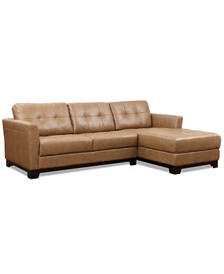 Martino Leather Chaise Sectional Sofa 2 Piece Apartment