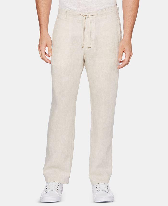 Perry Ellis - Men's Regular-Fit Linen Drawstring Pants