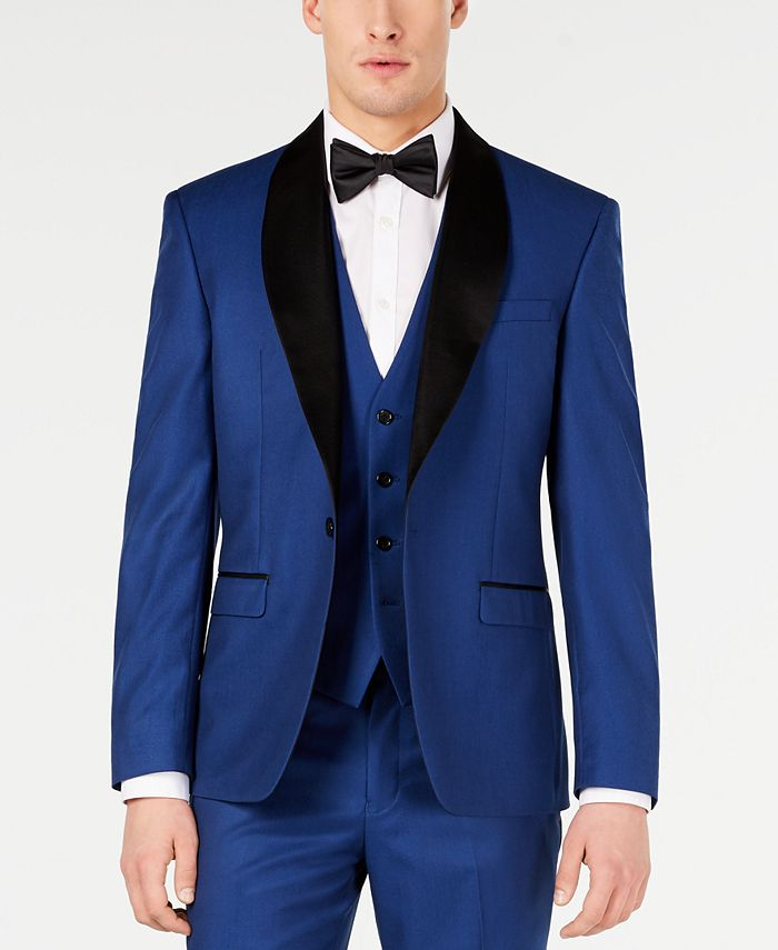 Ryan Seacrest Distinction - Men's Slim-Fit Stretch Cobalt Blue Shawl Lapel Prom Jacket